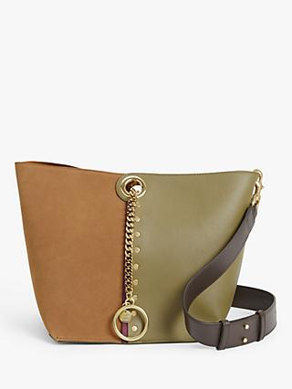 See By Chloé Gaia Large Suede Leather Chain Bucket Bag