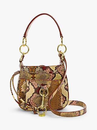 See By Chloé Tony Mini Snake Printed Leather Bucket Bag, Powder