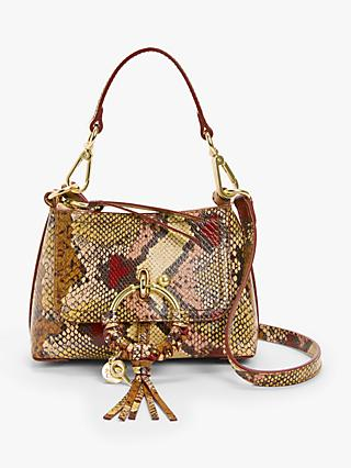 See By Chloé Joan Snake Printed Leather Mini Satchel Bag, Powder