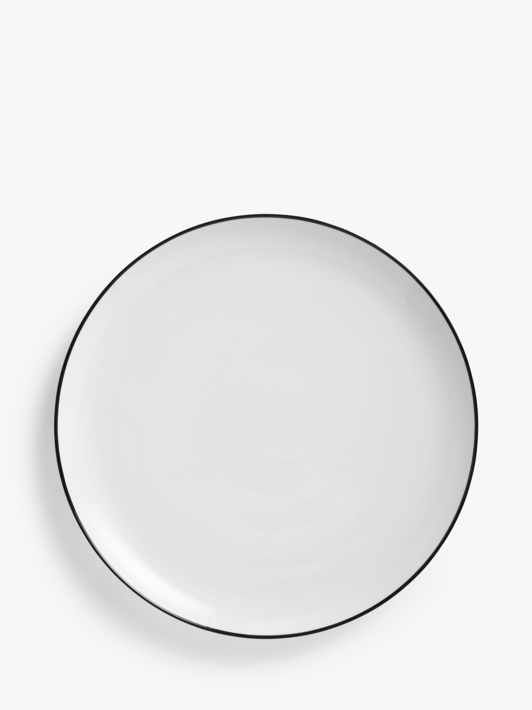 John Lewis House by John Lewis Eat Rim Coupe Dinner Plate, Dia. 28cm, White/Black