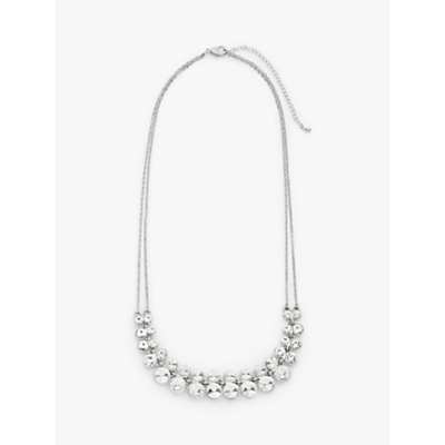 John Lewis & Partners Double Chain Graduating Cubic Zirconia Necklace, Silver