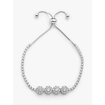 John Lewis & Partners Sparkle Flower Slider Chain Bracelet, Silver