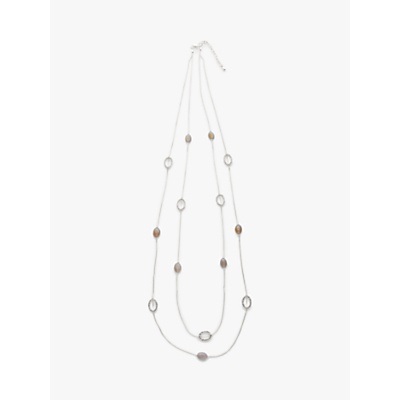 John Lewis & Partners Crystal Circle and Oval Agate Long Layered Necklace, Silver/Multi
