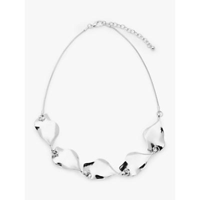 John Lewis & Partners Statement Leaf Short Necklace, Silver