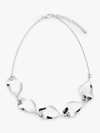 John Lewis & Partners Statement Leaf Short Necklace, Silver