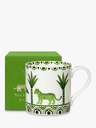 William Edwards Sultan's Garden Gift-Boxed Tiger Mug, 350ml, Green/White