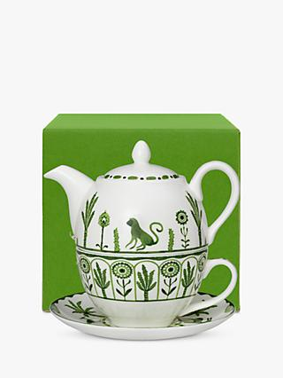 William Edwards Sultan's Garden Gift-Boxed Tea-For-One Teapot, 460ml, Green/White
