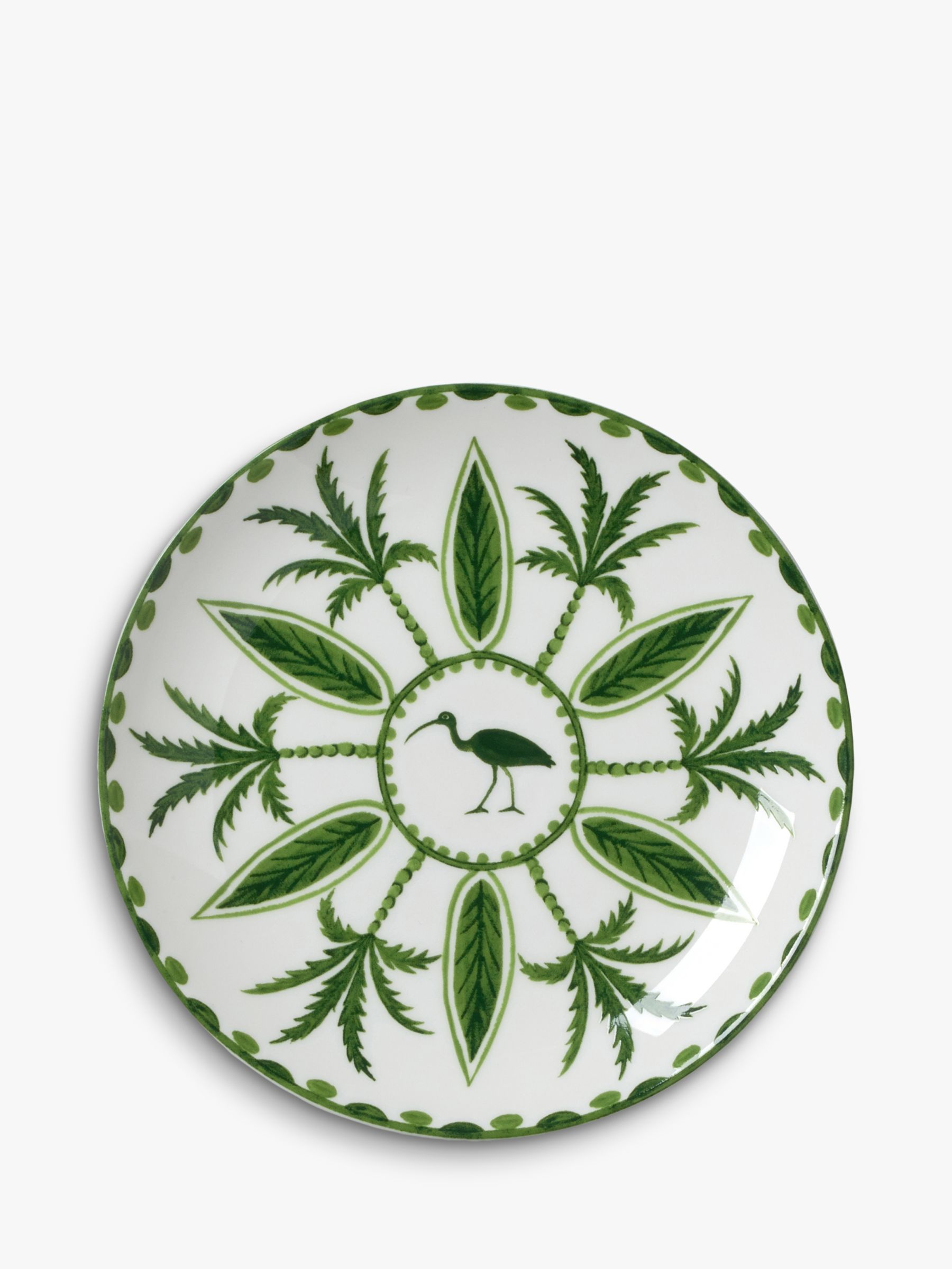 Buy William Edwards Sultan's Garden Coupe Crane Plate, 16.5cm, Green/White Online at johnlewis.com
