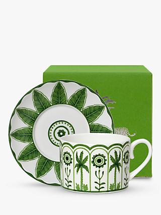 William Edwards Sultan's Garden Gift-Boxed Cup & Saucer, 200ml, Green/White