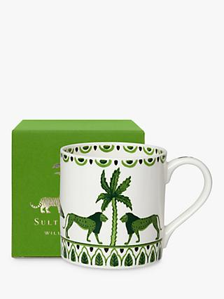 William Edwards Sultan's Garden Gift-Boxed Lion Mug, 350ml, Green/White