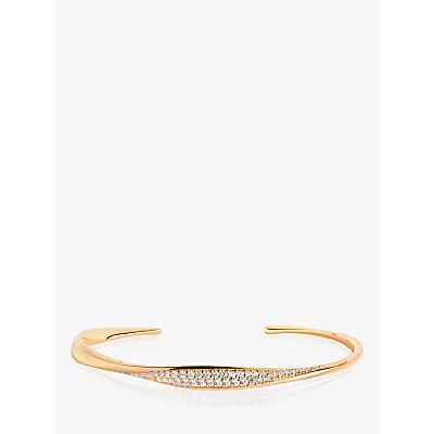 Sif Jakobs Jewellery Cubic Zirconia Open End Bangle, Gold