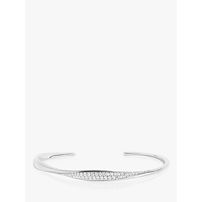 Sif Jakobs Jewellery Cubic Zirconia Open Bangle, Silver