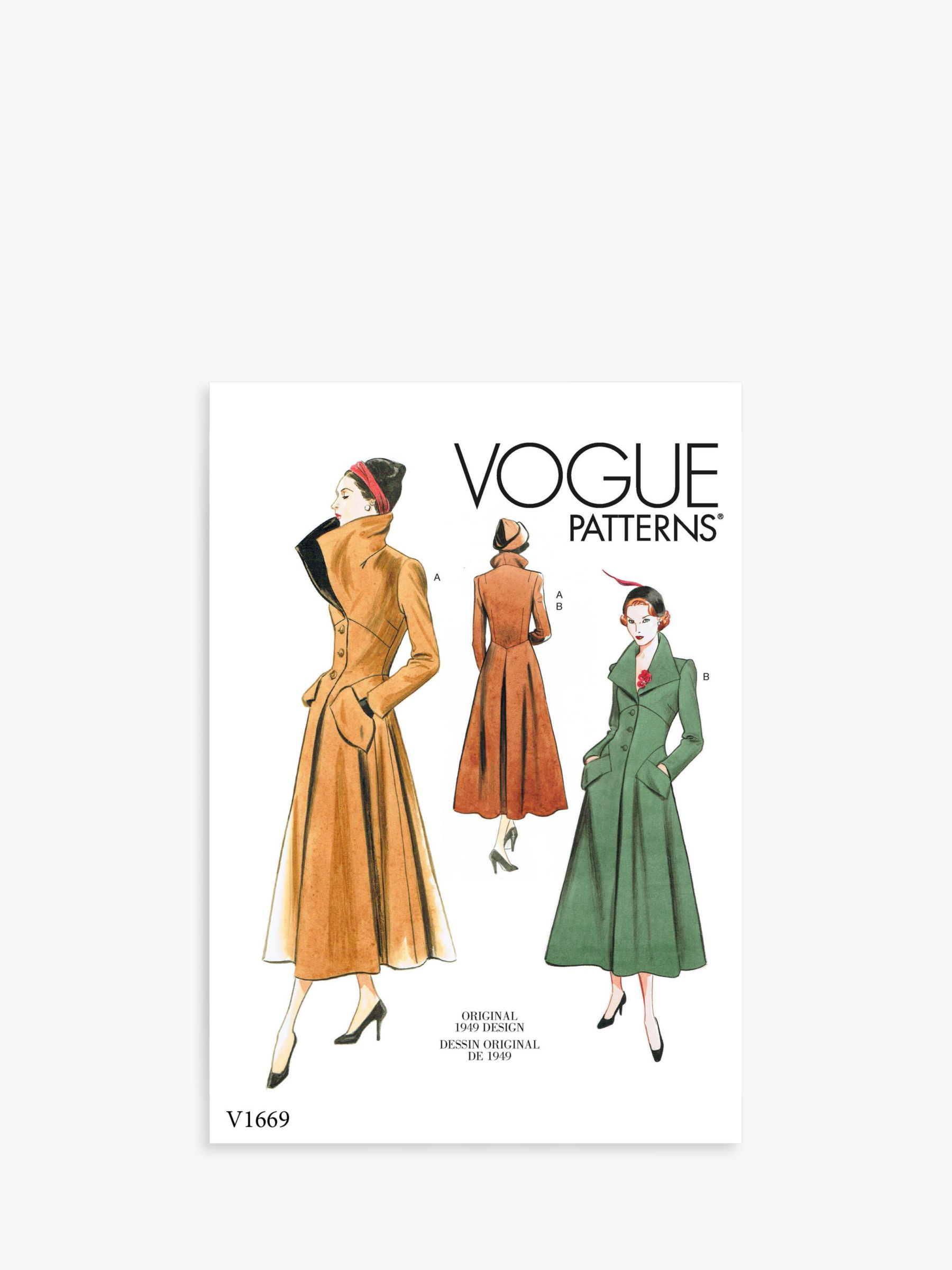 Vogue Vogue Women's Vintage Inspired Coat Sewing Pattern, 1669