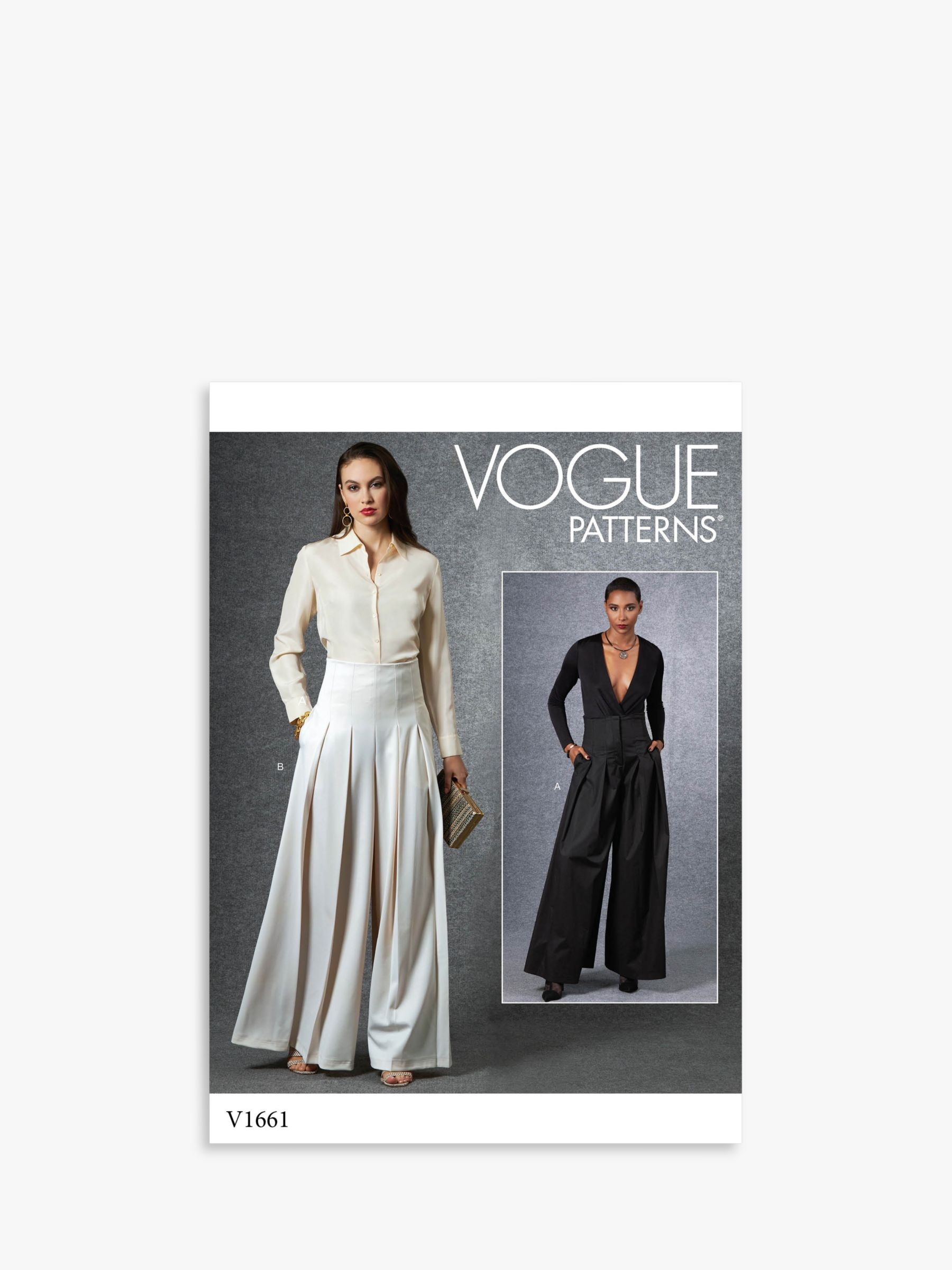 Vogue Vogue Women's Pleated and Flared Trousers Sewing Pattern, 1661