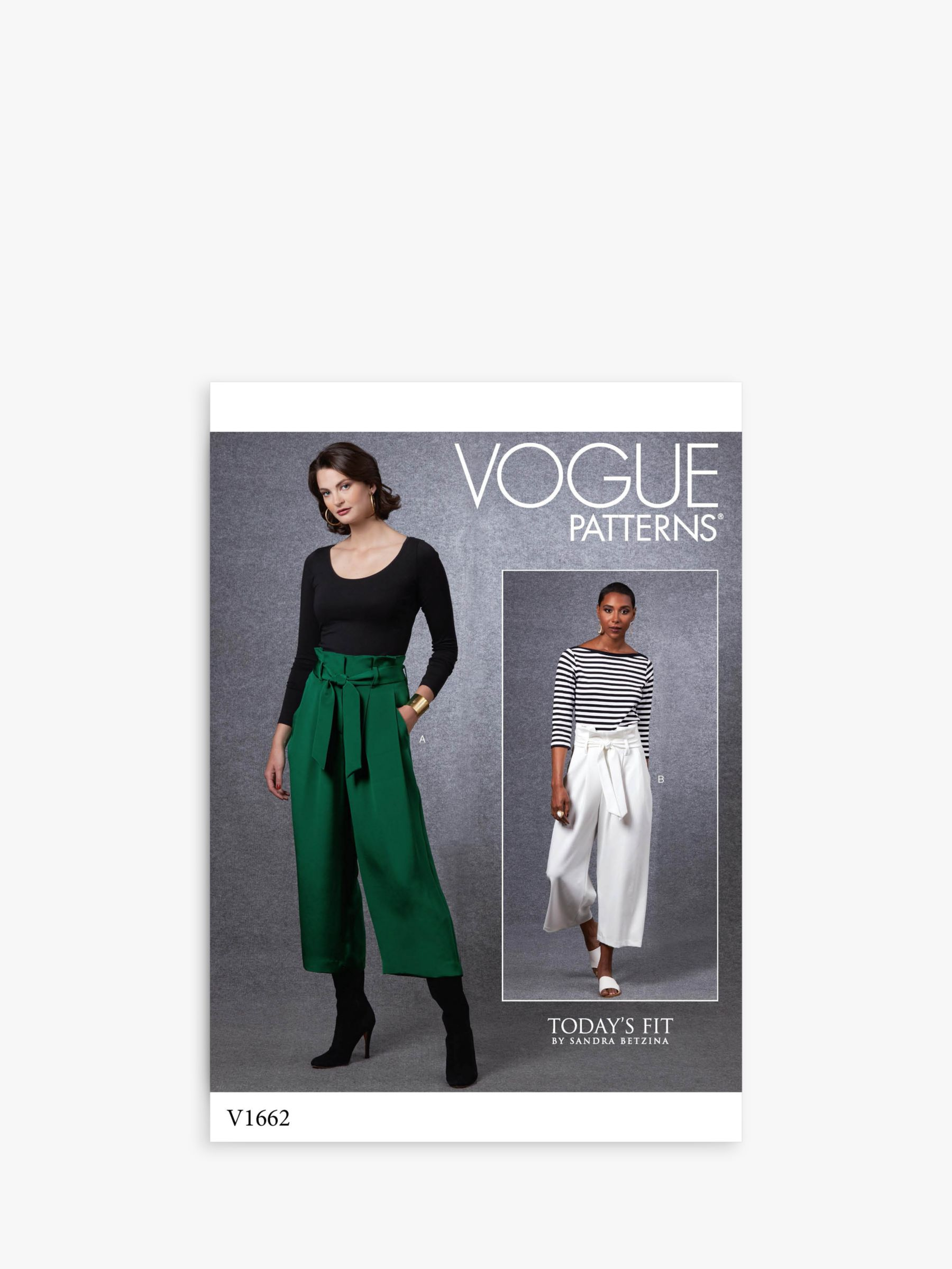 Vogue Vogue Women's Cropped Trousers Sewing Pattern, 1662