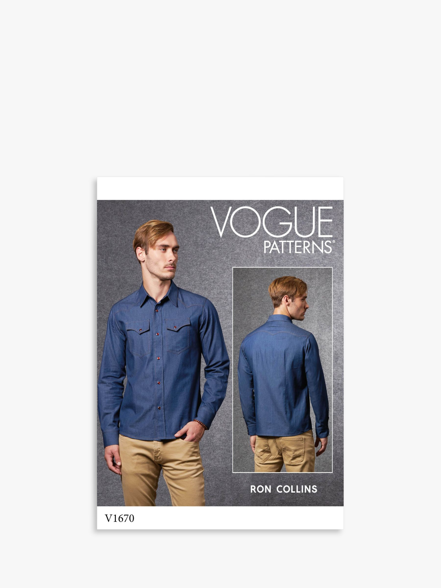 Vogue Vogue Men's Shirt Sewing Pattern, 1670