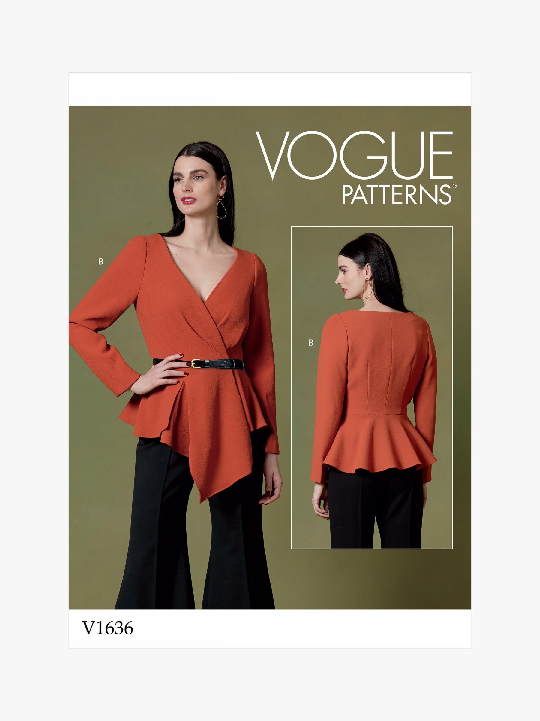 Vogue Vogue Women's Peplum Hem Top Sewing Pattern, 1636