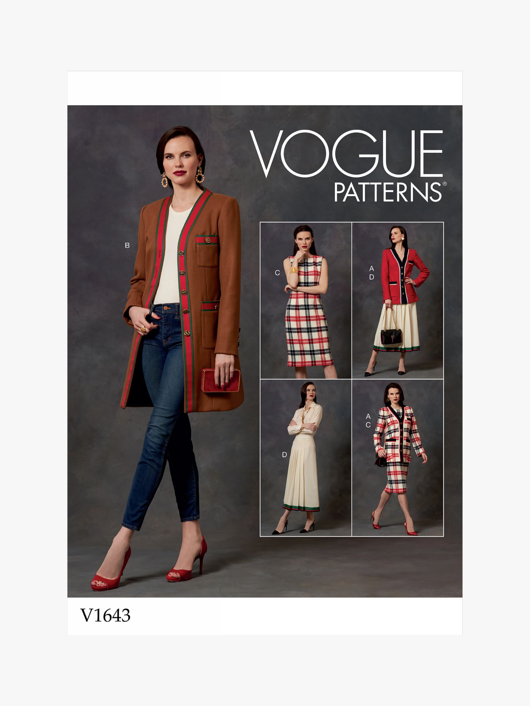 Vogue Vogue Women's Semi-Fitted Jacket, Dress and Skirt Sewing Pattern, 1643