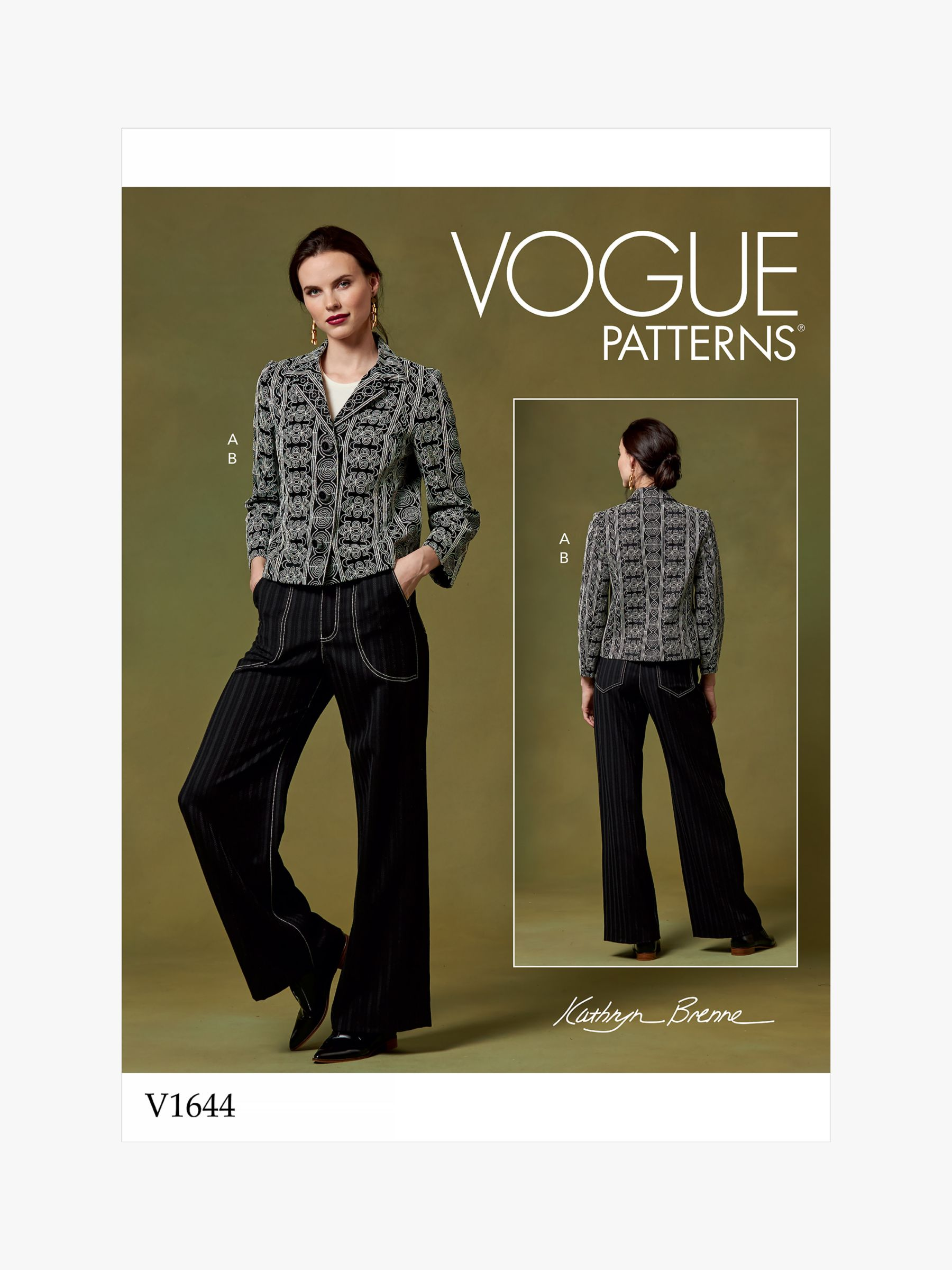 Vogue Vogue Women's Jacket and Flared Trousers Sewing Pattern, 1644