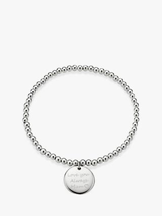 Under the Rose Personalised Engraved Heart Stretch Beaded Bracelet, Silver