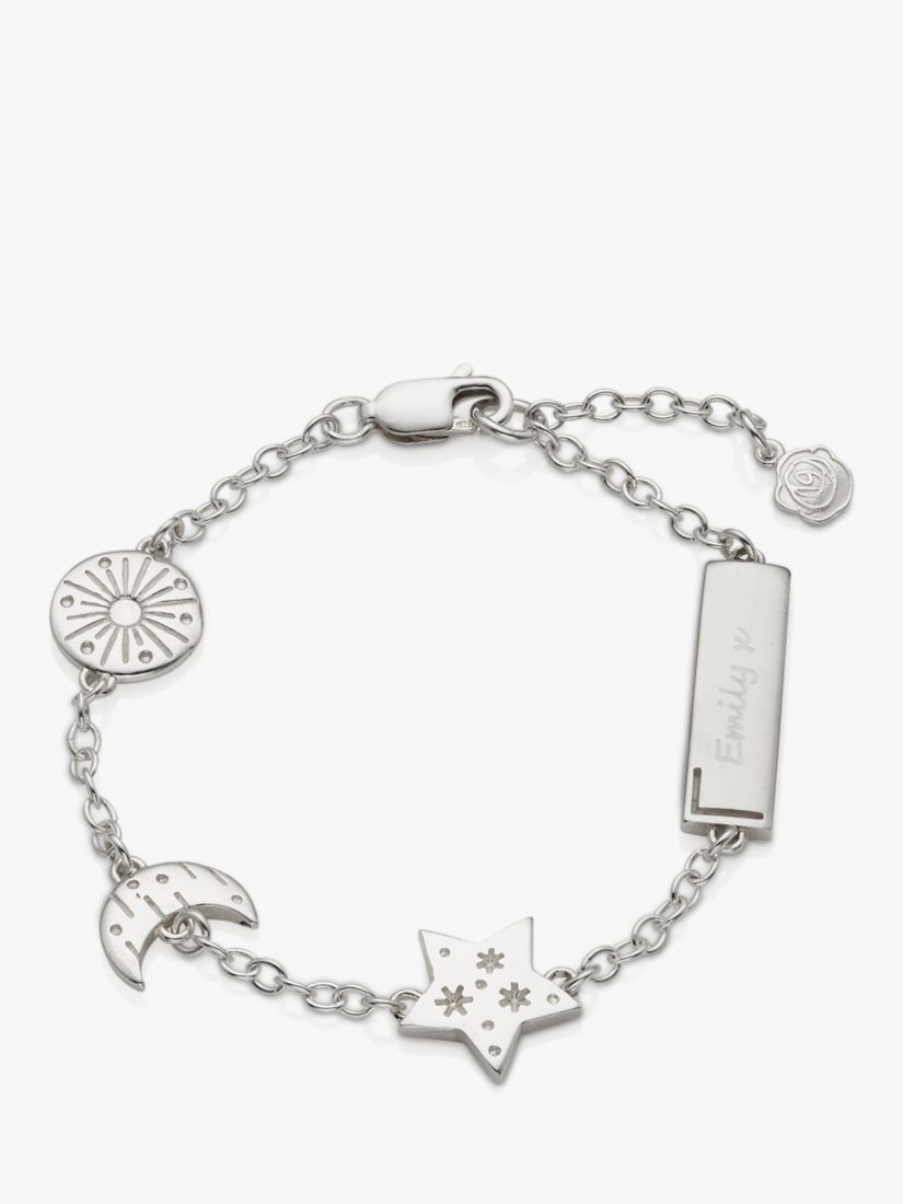 Under The Rose Under the Rose Personalised Sun Moon and Star Chain Bracelet, Silver