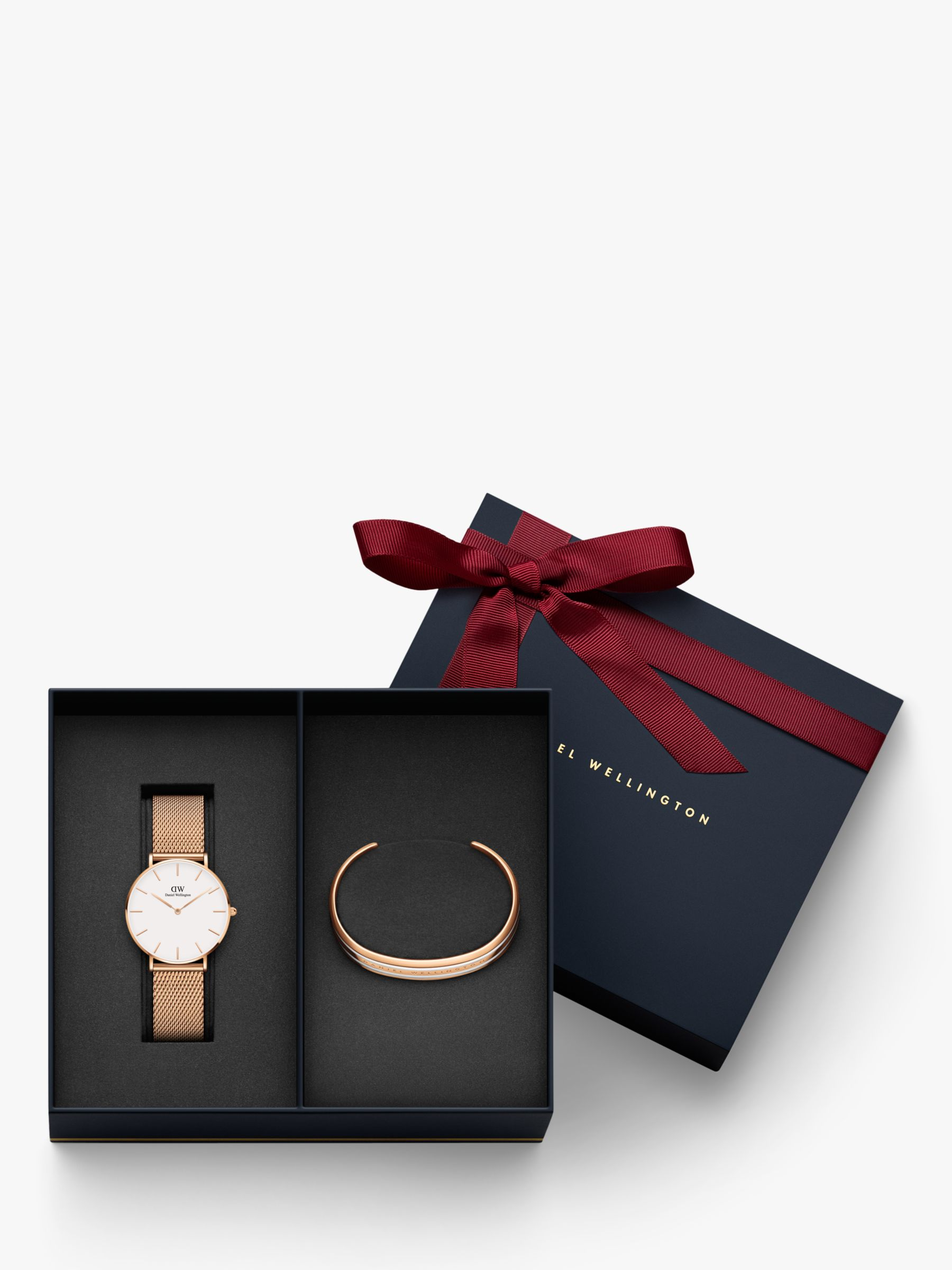 Daniel Wellington Daniel Wellington DW00500618 Women's 36mm Mesh Bracelet Strap Watch and Bangle Gift Set, Rose Gold/White