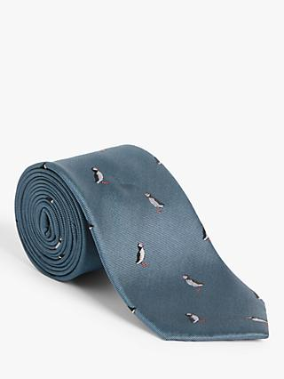 John Lewis & Partners Puffin Silk Tie, Blue