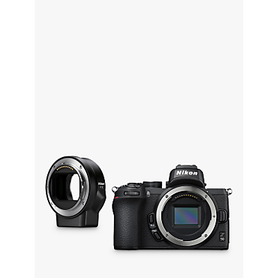 Nikon Z50 Compact System Camera, 4K UHD, 20.9MP, Wi-Fi, Bluetooth, OLED EVF, 3.2� Tiltable Touch Screen, Body Only & FTZ Mount Adapter