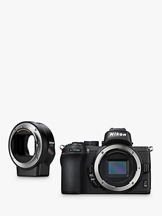 "Nikon Z50 Compact System Camera, 4K UHD, 20.9MP, Wi-Fi, Bluetooth, OLED EVF, 3.2"" Tiltable Touch Screen, Body Only & FTZ Mount Adapter"