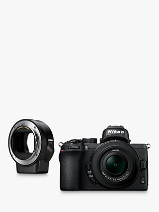"Nikon Z50 Compact System Camera with 16-50mm VR Lens, 4K UHD, 20.9MP, Wi-Fi, Bluetooth, OLED EVF, 3.2"" Tiltable Touch Screen & FTZ Mount Adapter"