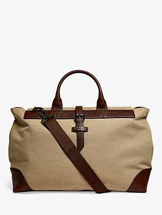 Ted Baker Giante Jute & Recycled Polyester Canvas Holdall, Natural