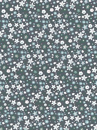 Oddies Textiles Mini Flower Print Fabric, Navy Blue