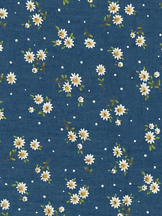 Oddies Textiles Daisy Print Fabric, Chambray