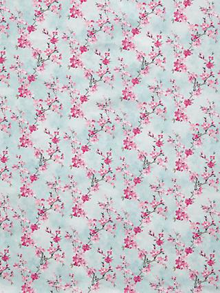 Oddies Textiles Floral Cherry Blossom Print Fabric, Light Blue/Pink