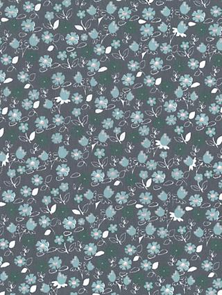 Oddies Textiles Mini Flower Print Fabric, Mid Grey/Mint
