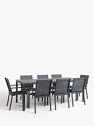 John Lewis & Partners Miami 8-Seat Garden Dining Table & Chairs, Grey
