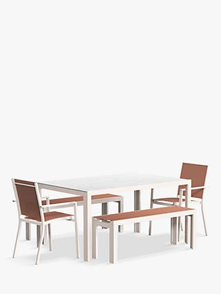 John Lewis & Partners Miami 6-Seat Ceramic Glass Top Garden Table, Benches & Chairs Set, Putty/Terracotta