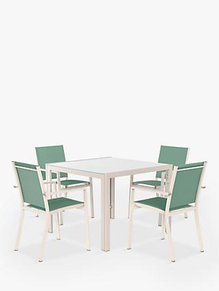 John Lewis & Partners Miami 4-Seat Garden Dining Table & Chairs, Putty/Aegean