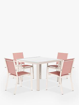 John Lewis & Partners Miami 4-Seat Garden Dining Table & Chairs, Putty/Terracotta