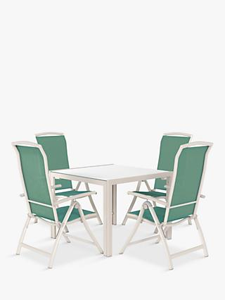 John Lewis & Partners Miami 4-Seat Garden Dining Table & Reclining Chairs, Putty/Aegean