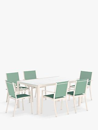 John Lewis & Partners Miami 6-Seat Garden Dining Table & Chairs, Putty/Aegean