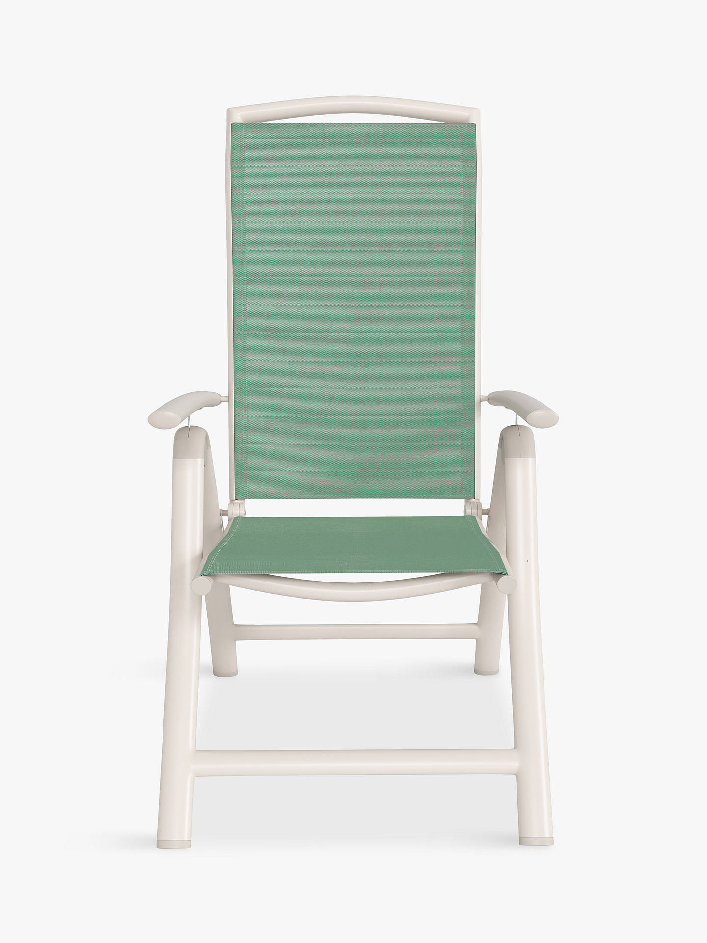 Buy John Lewis & Partners Miami 6-Seat Garden Dining Table & Reclining Chairs, Putty/Aegean Online at johnlewis.com