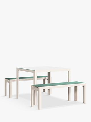 John Lewis & Partners Miami 4-Seat Garden Table & Benches, Putty/Aegean