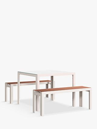 John Lewis & Partners Miami 4-Seat Garden Table & Benches, Putty/Terracotta