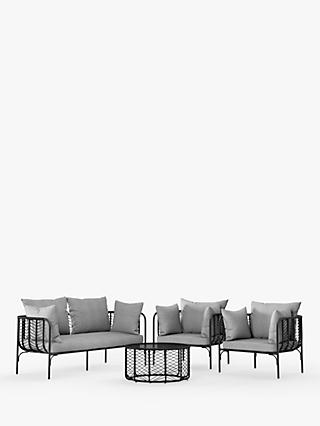 John Lewis & Partners Chevron 4-Seat Garden Lounging & Table Set, Black/Grey