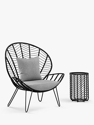 John Lewis & Partners Chevron Statement Garden Chair & Side Table, Black/Grey