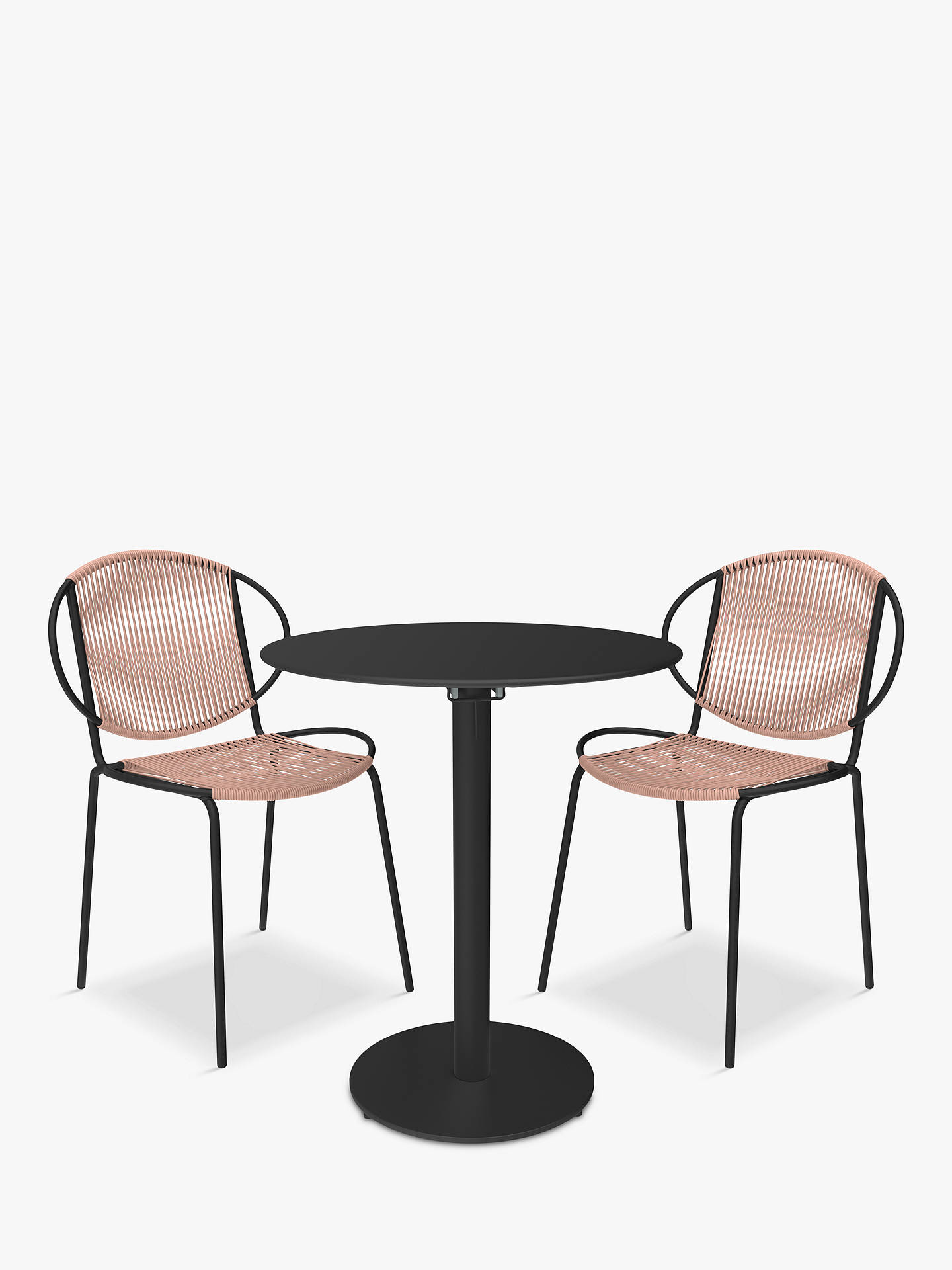 Buy John Lewis & Partners Ellipse 2-Seat Garden Bistro Table & Chairs, Black/Plaster Online at johnlewis.com
