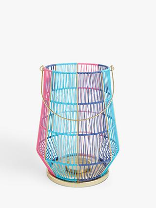 John Lewis & Partners Summer Lantern Candle Holder, Pink/Blue, H34 cm