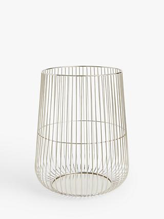John Lewis & Partners Silver Cage Lantern Candle Holder, H38 cm