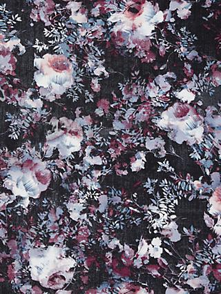 Spendlove Burgundy Shadow Flowers Print Fabric, Black